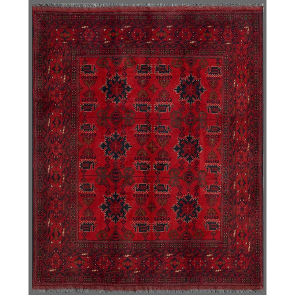 Afghan Hand-knotted Khal Mohammadi Red/ Navy Wool Rug (6' x 7'2)
