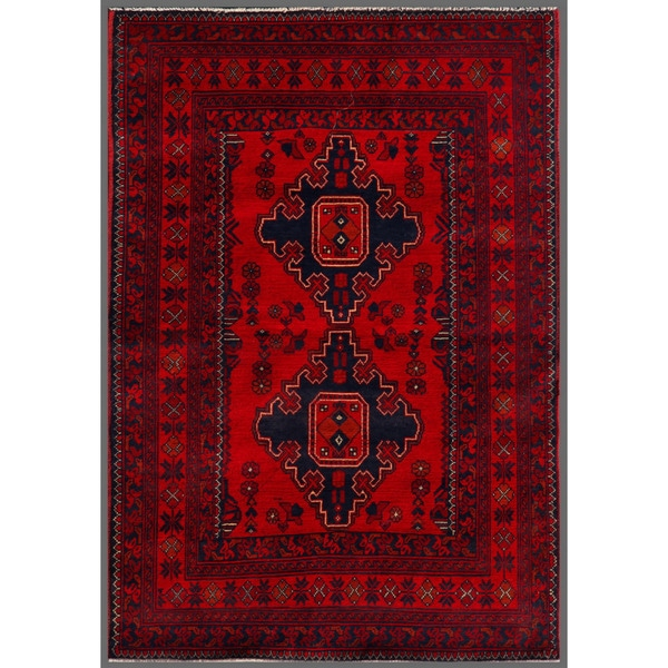 Traditional Afghan Hand-knotted Khal Mohammadi Red/ Navy Wool Rug (3'3 x 4'10)