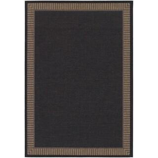 Recife Wicker Stitch Black/ Cocoa Rug (2' x 3'7)