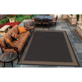 Couristan Recife Wicker Stitch/Black-Cocoa Indoor/Outdoor Area Rug - 2' x 3'7""