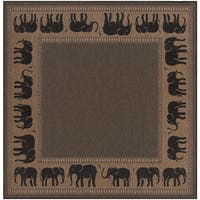 Pergola Global Cocoa/Black Indoor/Outdoor Square Area Rug - 8'6 x 8'6