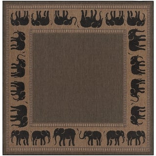 "Pergola Global Cocoa-Black Indoor/Outdoor Square Area Rug - 8'6"" Square"