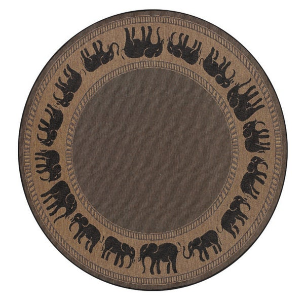 "Pergola Global Cocoa-Black Indoor/Outdoor Round Rug - 7'6"" Round"