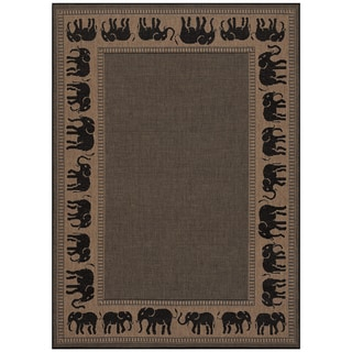 Power-Loomed Pergola Global Cocoa/Black Polypropylene Rug (7'6 x 10'9)