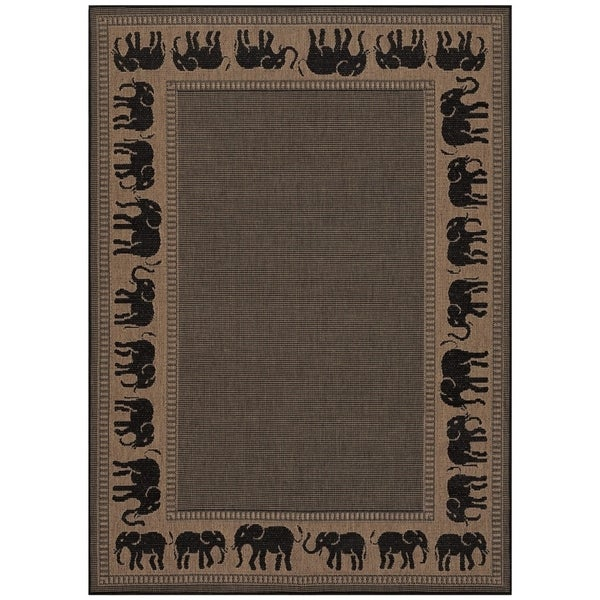 Pergola Global Cocoa/Black Indoor/Outdoor Area Rug - 7'6 x 10'9