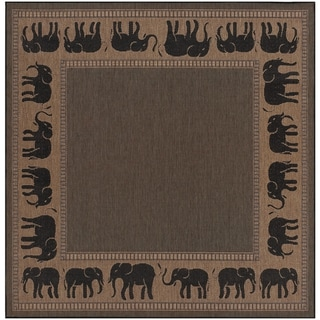 Power-Loomed Pergola Global Cocoa/Black Polypropylene Rug (7'6 Square)