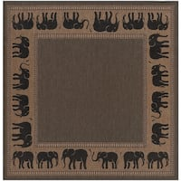 Pergola Global Cocoa/Black Indoor/Outdoor Square Area Rug - 7'6 x 7'6