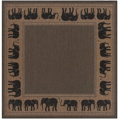 "Pergola Global Cocoa-Black Indoor/Outdoor Square Area Rug - 7'6"" Square"