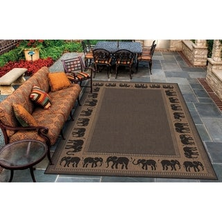 Power-Loomed Pergola Global Cocoa/Black Polypropylene Rug (8'6 x 13')