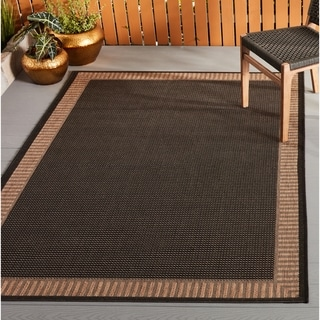 Power-Loomed Pergola Flame Black/Cocoa Polypropylene Rug (3'9 x 5'5)