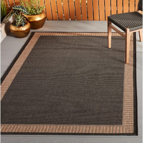 "Pergola Flame Black-Cocoa Indoor/Outdoor Area Rug - 5'3"" x 7'6"""