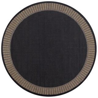 Pergola Flame Black/ Cocoa Indoor/ Outdoor Round Area Rug - 7'6 x 7'6