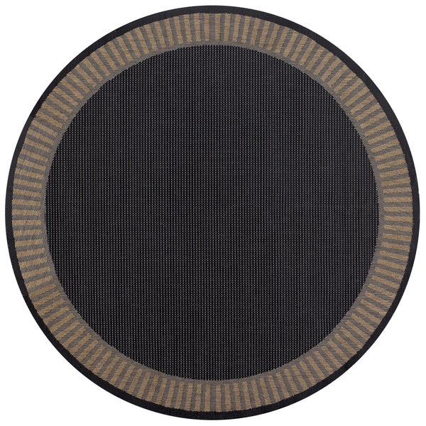Pergola Flame Black Cocoa Indoor Outdoor Round Area Rug 7 X27