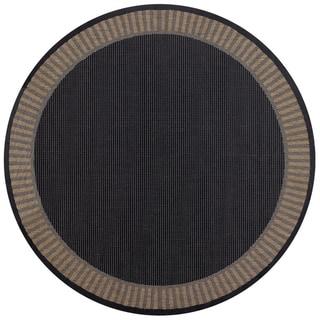 Power-Loomed Pergola Flame Black/Cocoa Polypropylene Rug Round