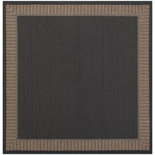 Recife Wicker Stitch Black and Cocoa Rug (8'6 Square)