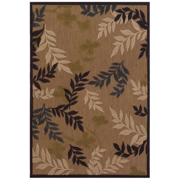 """Urbane Tan/Charcoal Leaf-Print Rug (5'2"""" x 7'6"""")"""