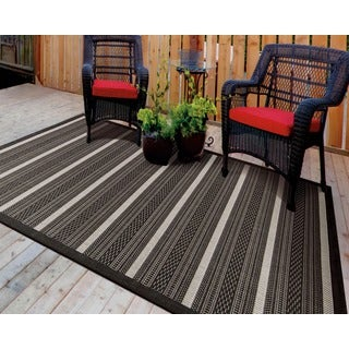 Eclipse Sophisticated Black Striped Rug (7'10 x 10'10)