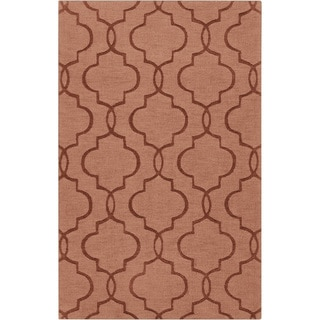 Hand-crafted Orange Geometric Lattice Vols Geometric Wool Rug (2'x3)