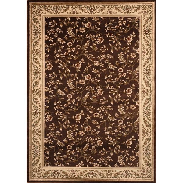 Brown Floral Rug (7'10 x 10'2)