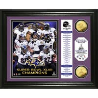 Baltimore Ravens Super Bowl XLVII Champions Gold Coin Banner Photo Mint