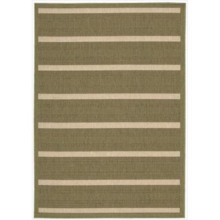 Eclipse Green Striped Rug (7'10 x 10'10)