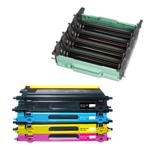 Brother Compatible TN115 BYCM Toner Cartridges (Pack of 5) with DR110 Drum Unit