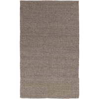 Hand-loomed Solid Brown Casual Wool Area Rug - 5' x 8'