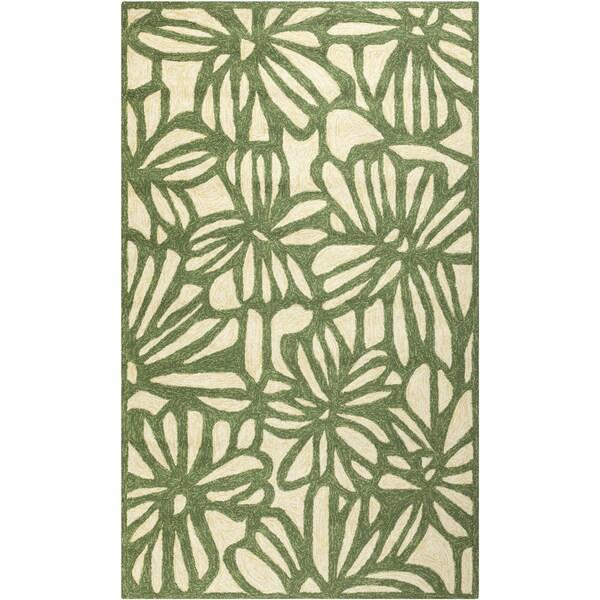 Hand-hooked Green Flowers Indoor/Outdoor Rug (8' x 10'6)