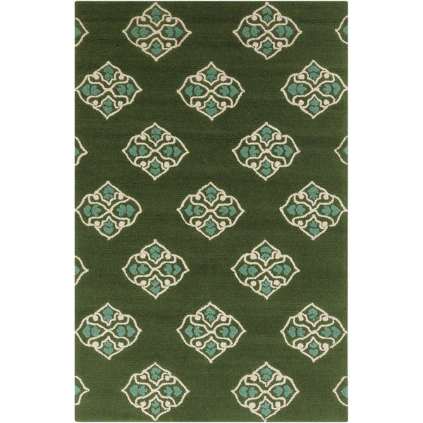 Hand-hooked Stencil Spruce Green Indoor/Outdoor Rug (3'3 x 5'3)