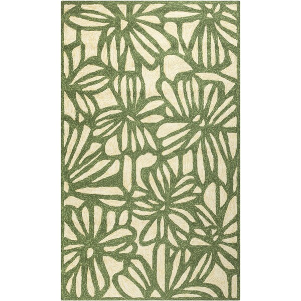 Hand-hooked Flowers Spruce Green Indoor/Outdoor Rug (3'3 x 5'3)