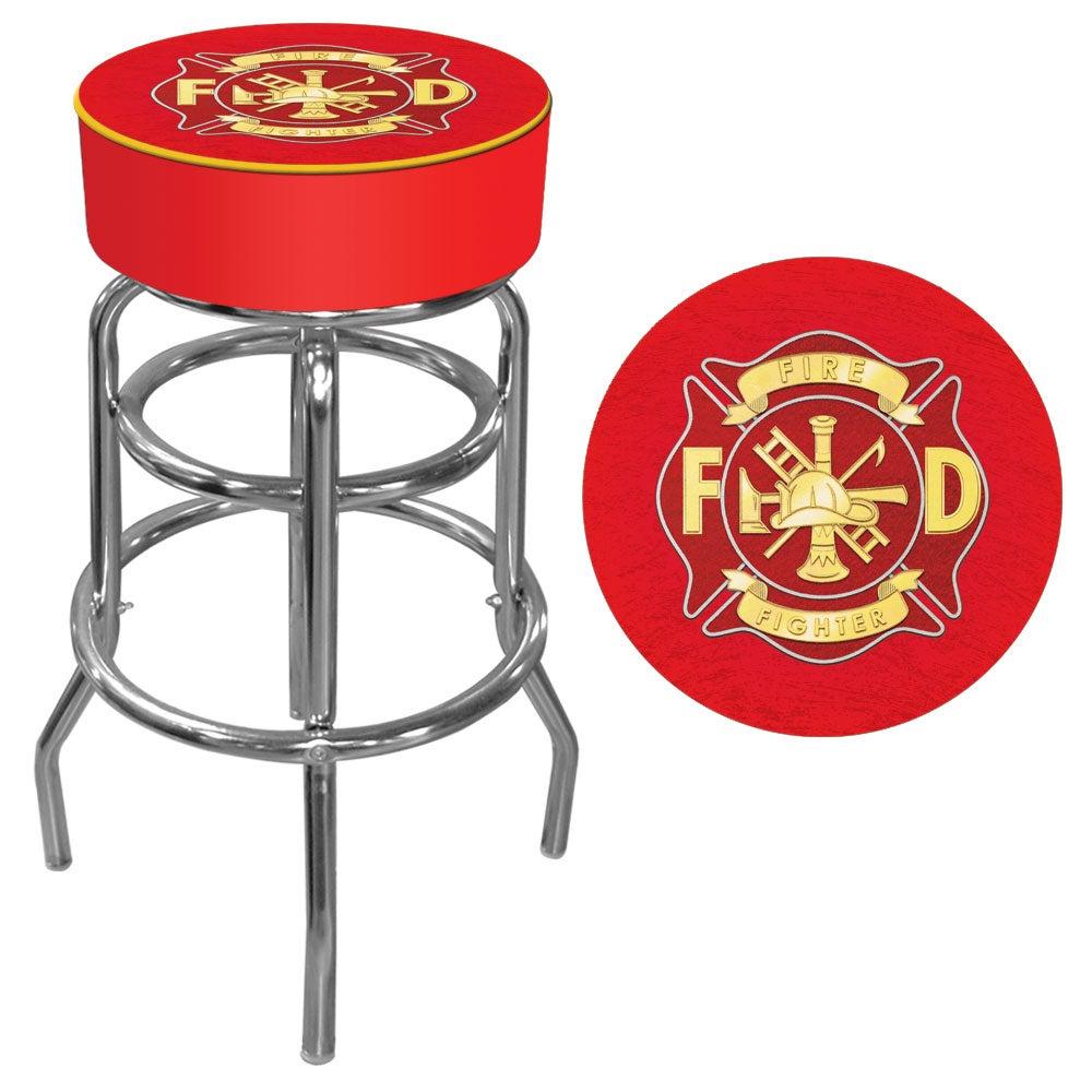 Trademark Gameroom Fire Fighter Logo Padded Bar Stool, Go...