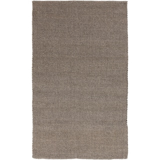 Hand-loomed Solid Brown Casual Wool Rug (8' x 11')