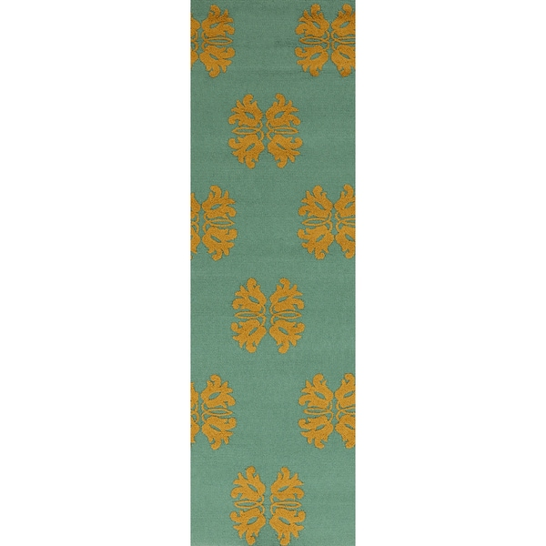 Hand-hooked Teal Stencil Malachite Blue Indoor/Outdoor Rug (2'6 x 8')