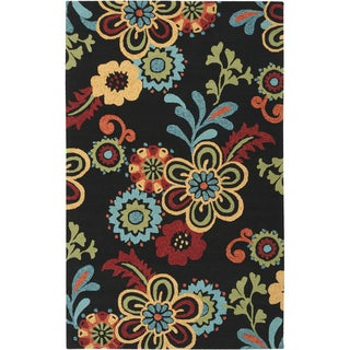 """Hand-hooked Bold Daises Caviar Indoor/Outdoor Floral Area Rug - 8' x 10'6"""""""