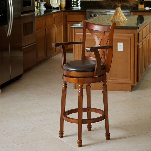 Eclipse 30-inch Brown Armed Swivel Barstool by Christopher Knight Home