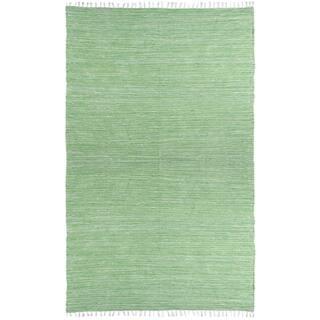 Green Reversible Chenille Flat Weave Rug 5