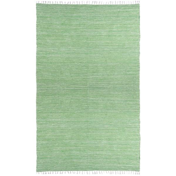 Green Reversible Chenille Flat Weave Rug (5' x 8')
