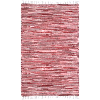 Red Reversible Chenille Flat Weave Rug - 4' x 6'