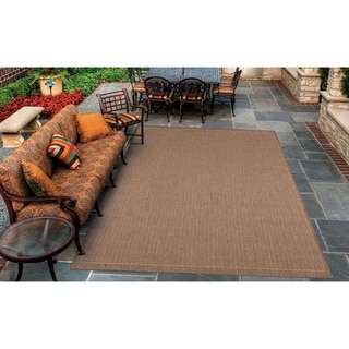 Couristan Recife Saddle Stitch/Cocoa-Natural Indoor/Outdoor Area Rug - 2' x 3'7
