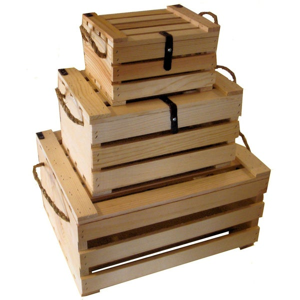 Wooden Covered Crate 3-piece Set