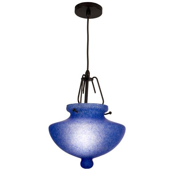 Blue Art Glass One-Light Pendant