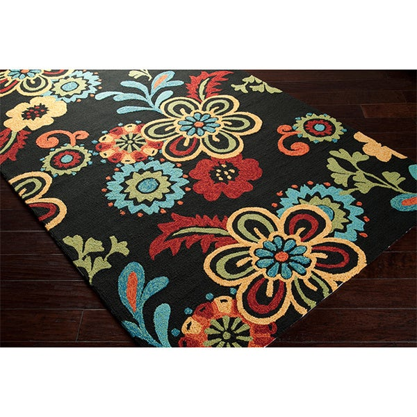 Hand Hooked Bold Daisies Caviar Indoor Outdoor Floral Rug