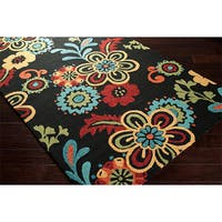 Clay Alder Home Arkwright Hand-hooked Bold Daisies Caviar Indoor/Outdoor Floral Area Rug (5' x 7'6) - 5' x 7'6