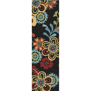 Hand-hooked Bold Daisies Caviar Indoor/Outdoor Floral Rug (2'6 x 8')