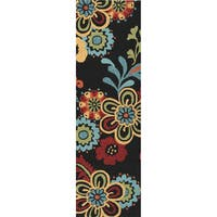 "Hand-hooked Bold Daisies Caviar Indoor/Outdoor Floral Area Rug - 2'6"" x 8'"