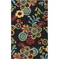 Hand-hooked Bold Daisies Caviar Indoor/Outdoor Floral Area Rug - 2' X 3'