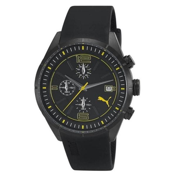 Puma Men's Active Black Rubber and Black Dial Quartz Watch