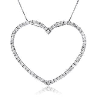 10k White Gold 1ct TDW Diamond Open Heart Necklace