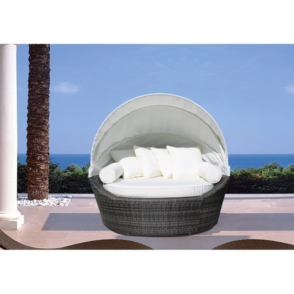 Outdoor Canopy Wicker Daybed With Cushions   SOGNO