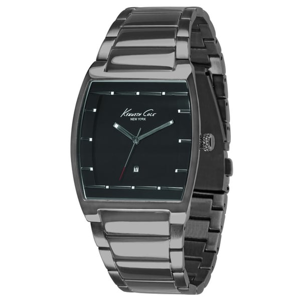 Kenneth Cole Men's Silver Stainless Steel and Black Dial Quartz Watch